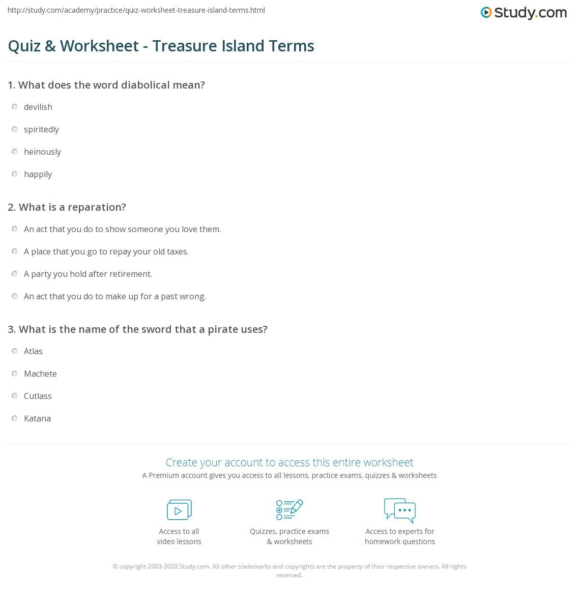 Treasure Island Vocabulary Worksheets