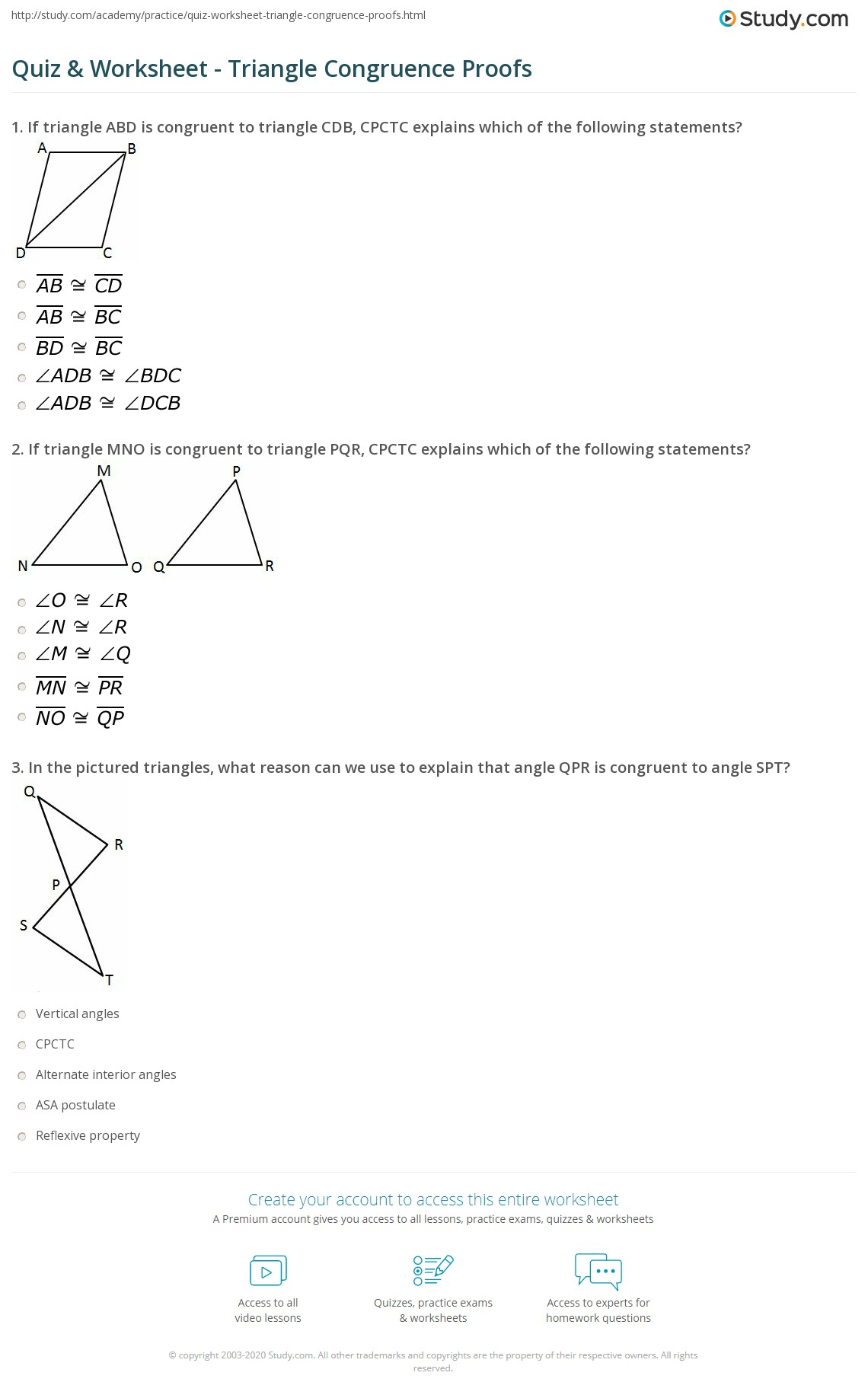 Congruent Triangles Worksheet Chapter 4