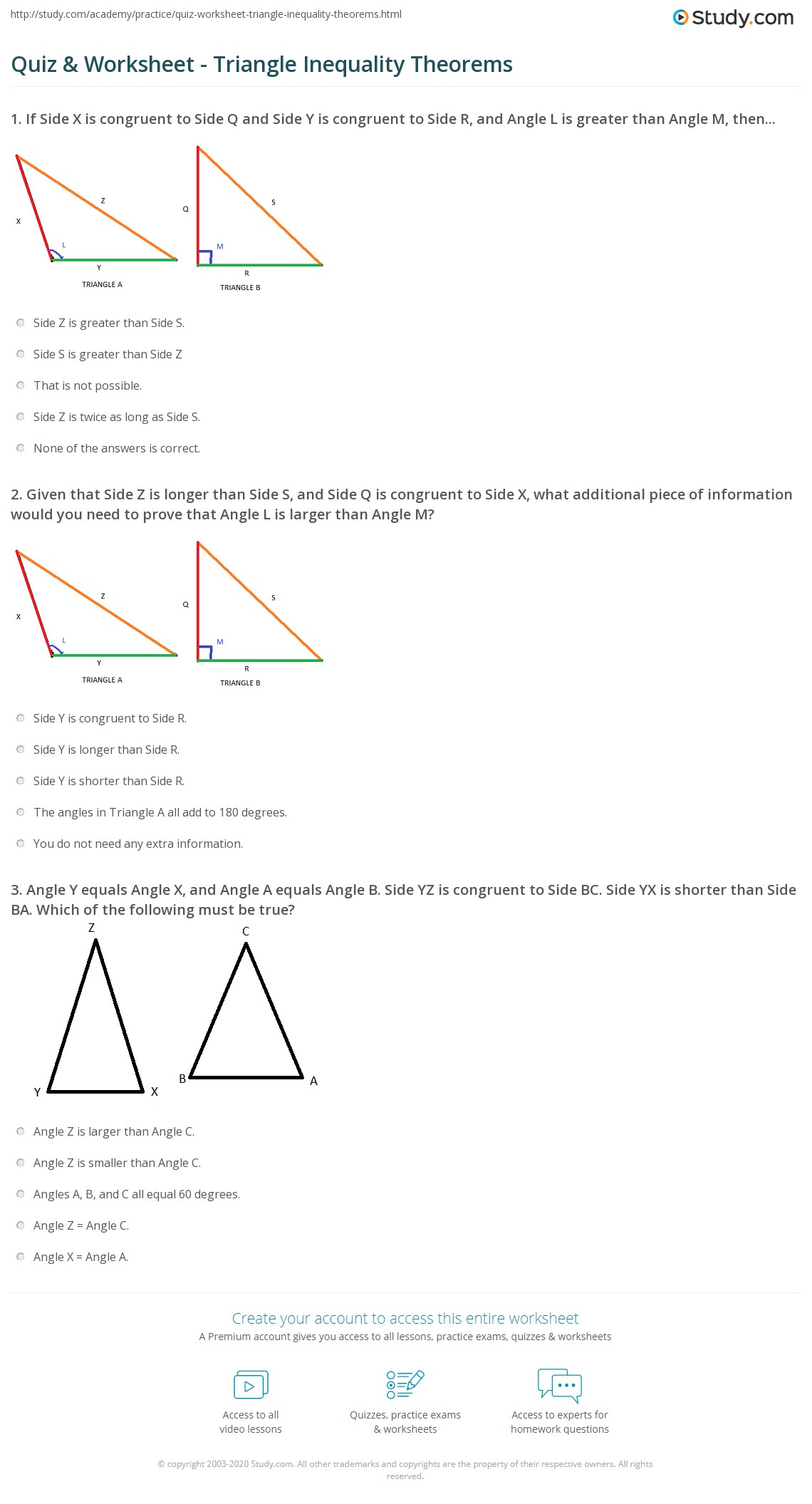 Worksheet In Triangle Inequalities