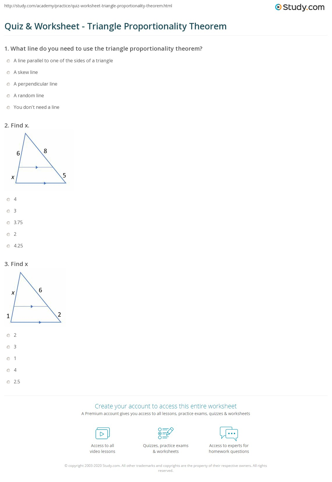 Printables Of Triangle Proportionality Theorem Worksheet