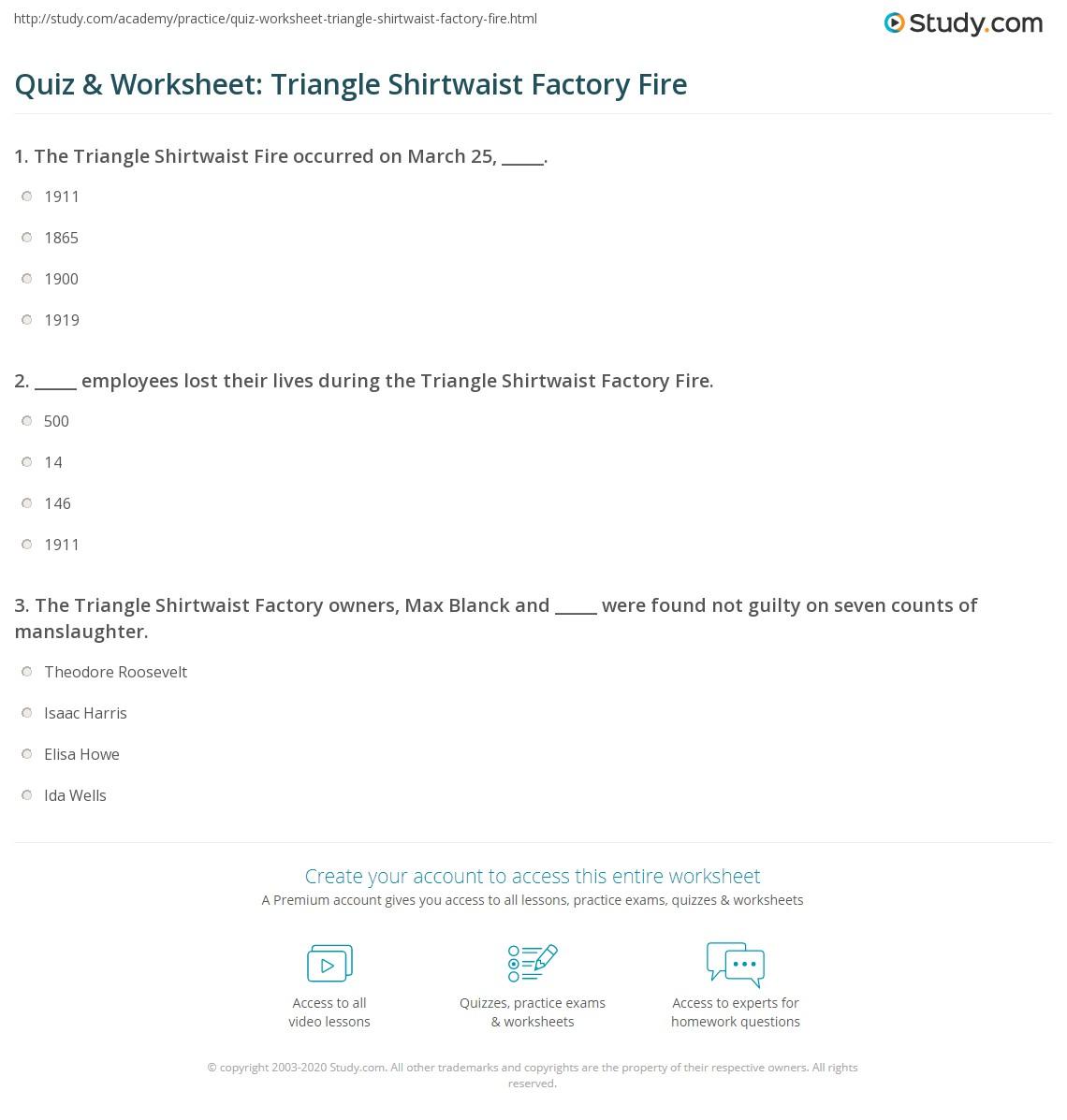 Quiz Amp Worksheet Triangle Shirtwaist Factory Fire