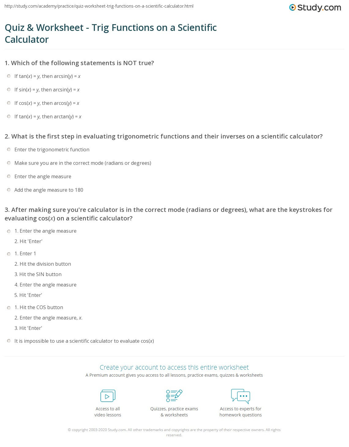 Scientific Calculator Worksheet