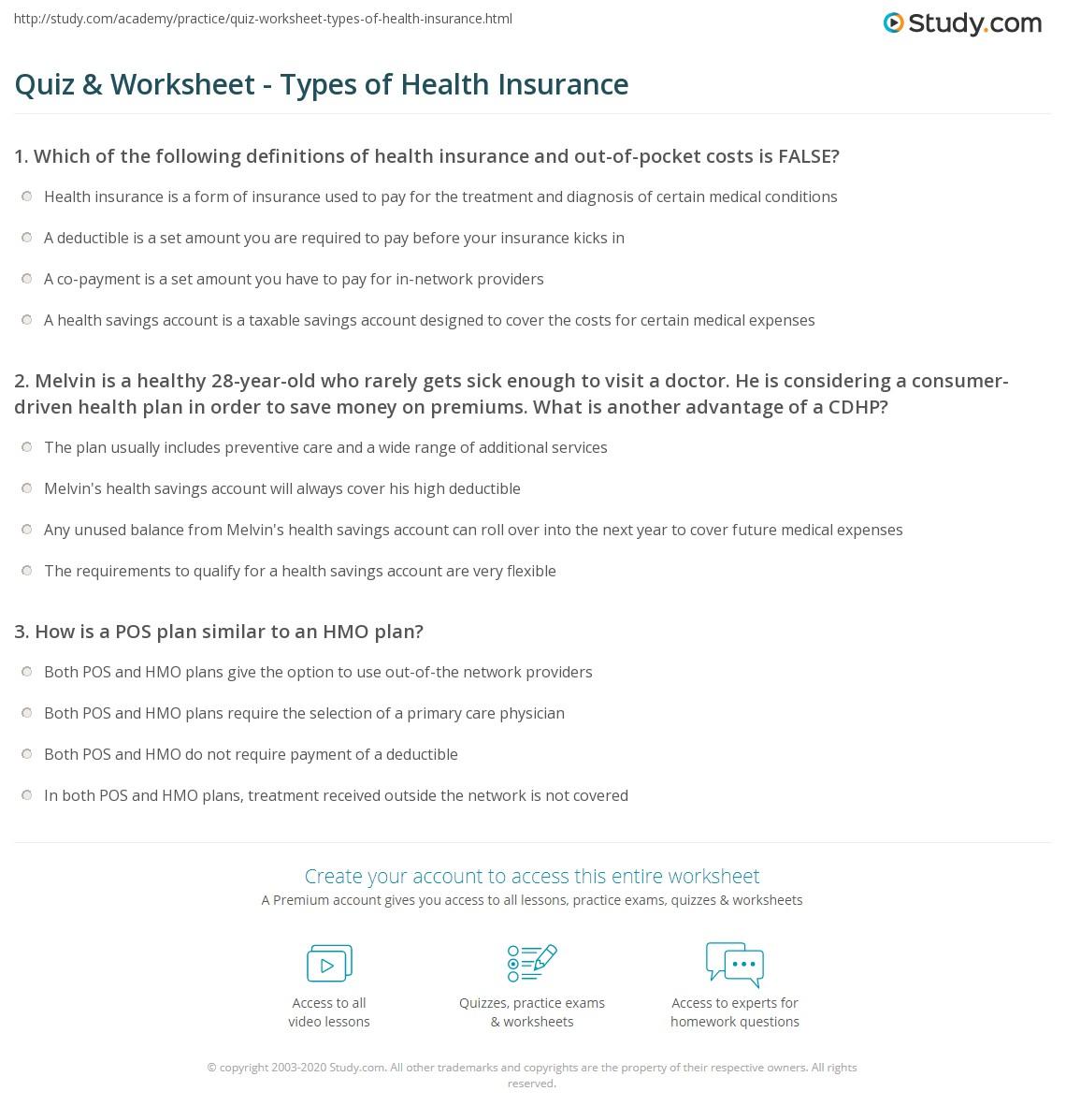 28 Types Of Insurance Worksheet