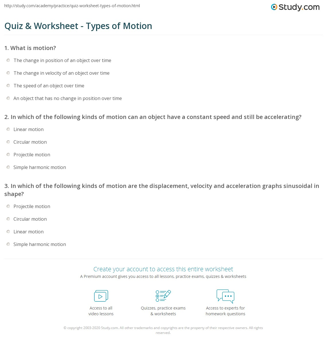 Collection Of Linear Motion Worksheet