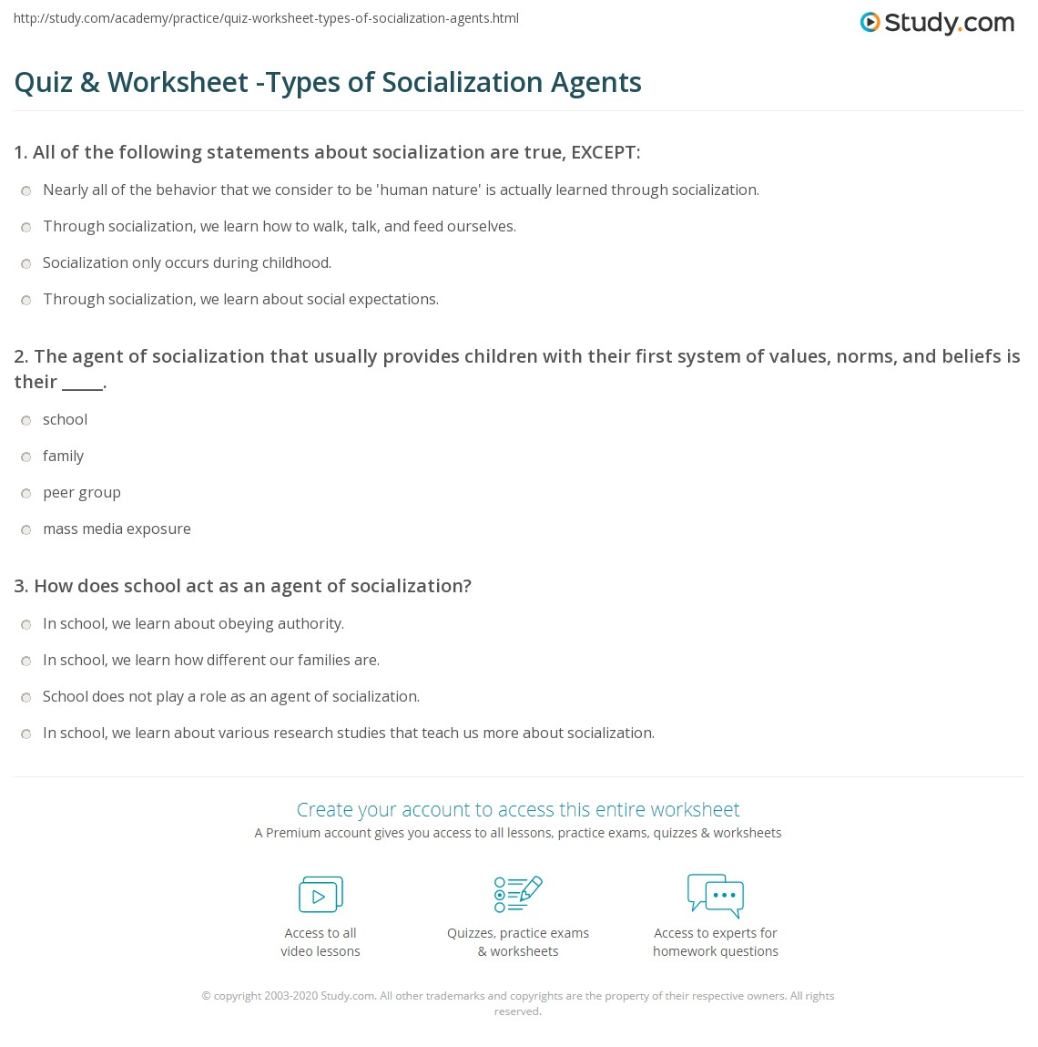 Quiz Amp Worksheet Types Of Socialization Agents