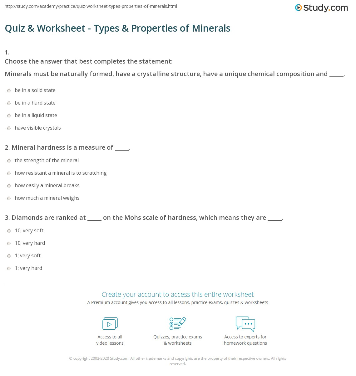 Minerals Activity Worksheet Answers