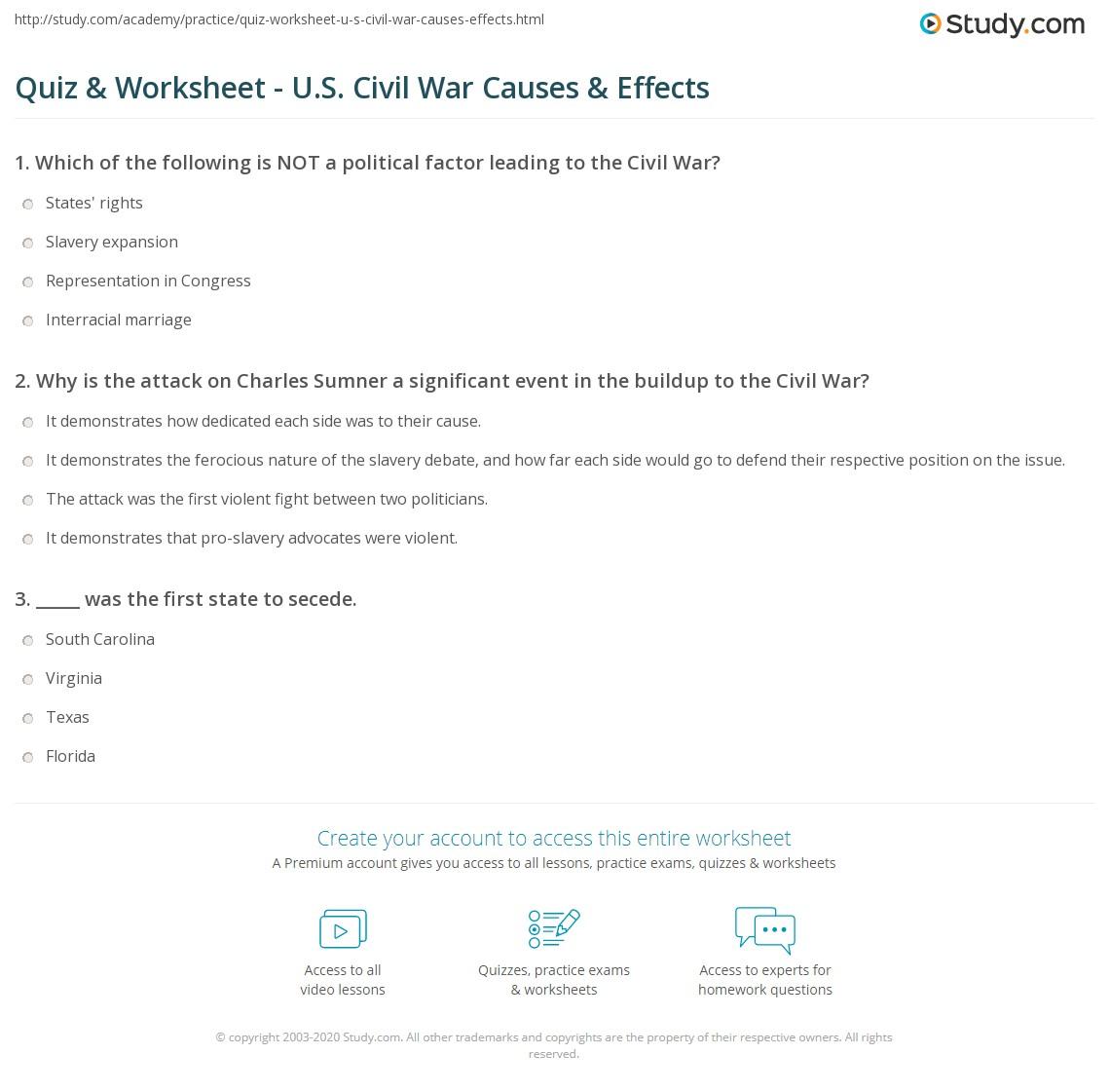 Uncategorized Causes Of The Civil War Worksheet