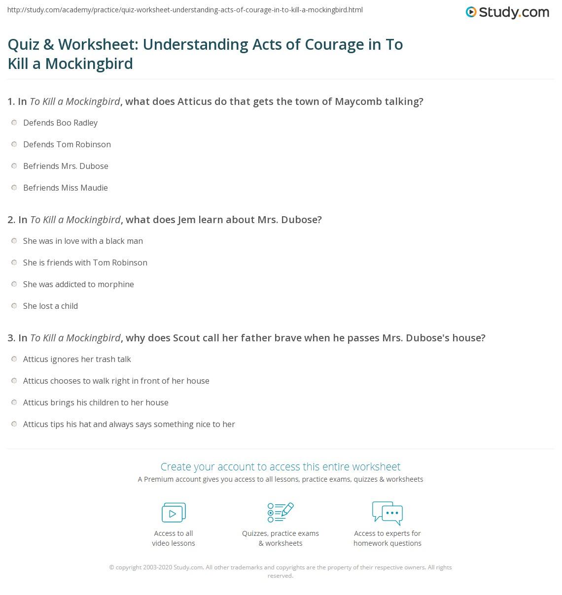 Quiz Amp Worksheet Understanding Acts Of Courage In To Kill