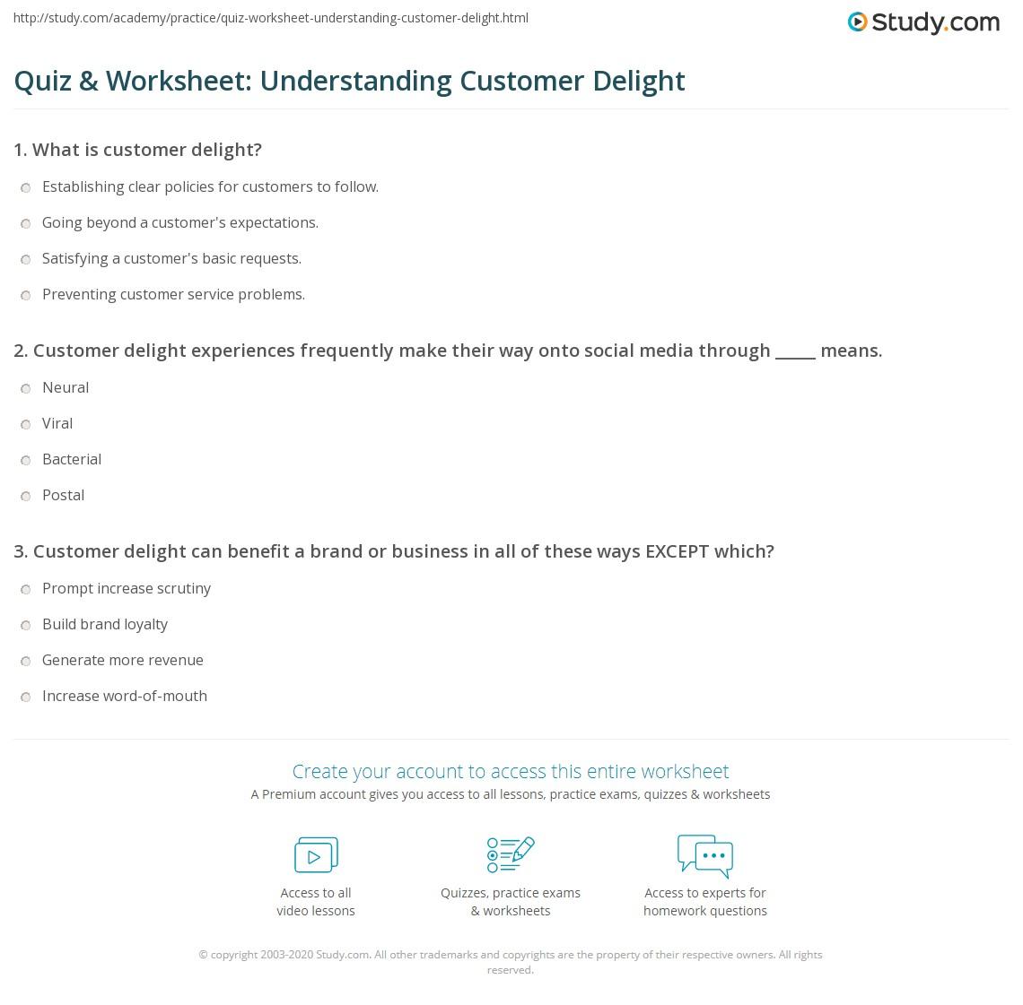 Quiz Amp Worksheet Understanding Customer Delight