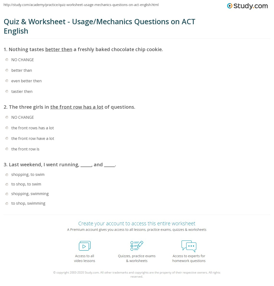 Act Practice Worksheets