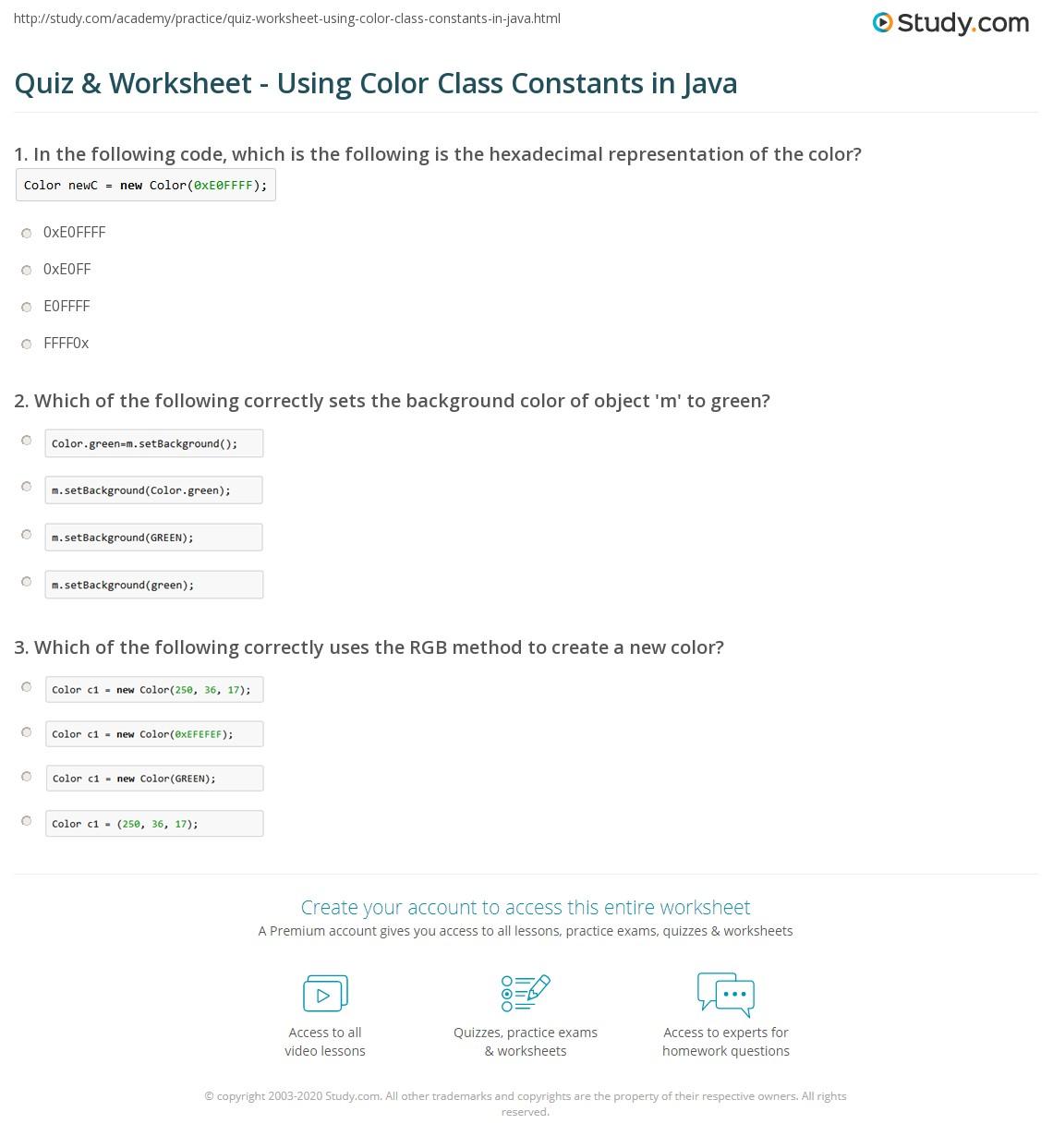 Java Classes Worksheet