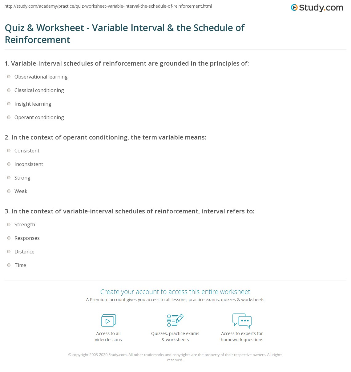 Reinforcement Worksheet Answers
