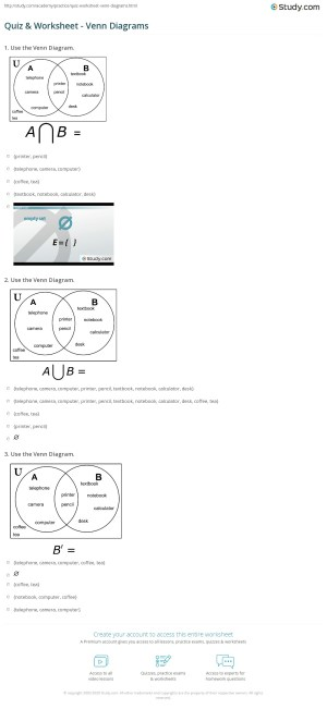 Quiz & Worksheet  Venn Diagrams | Study