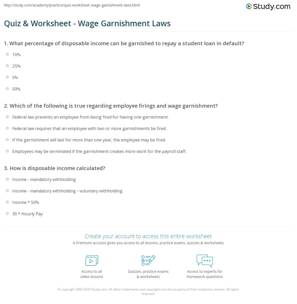 California Garnishment Worksheet