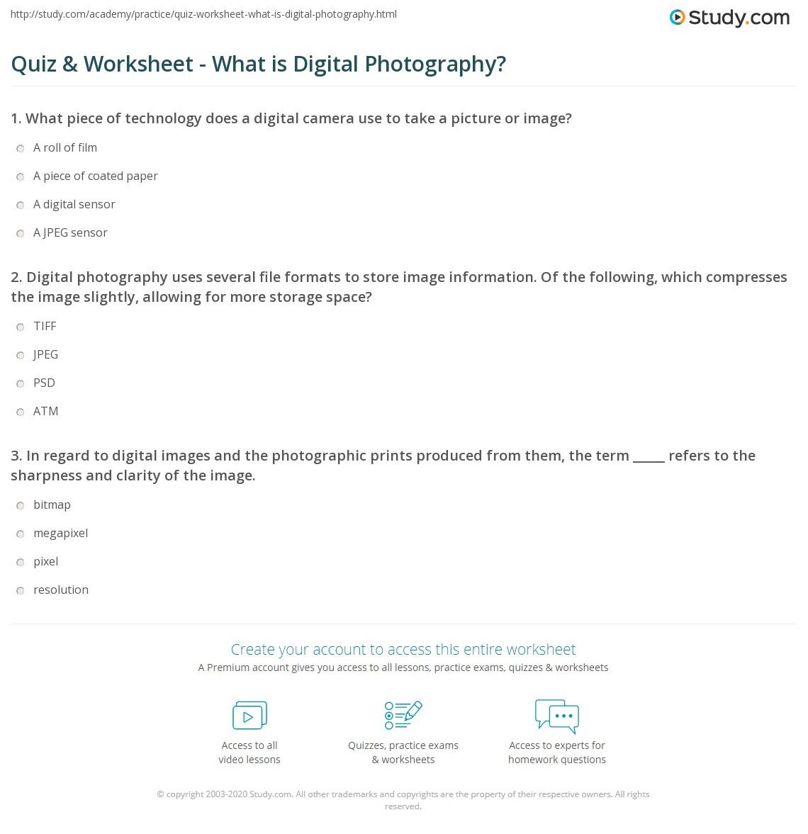 Digital Image Terminology Worksheet Answers