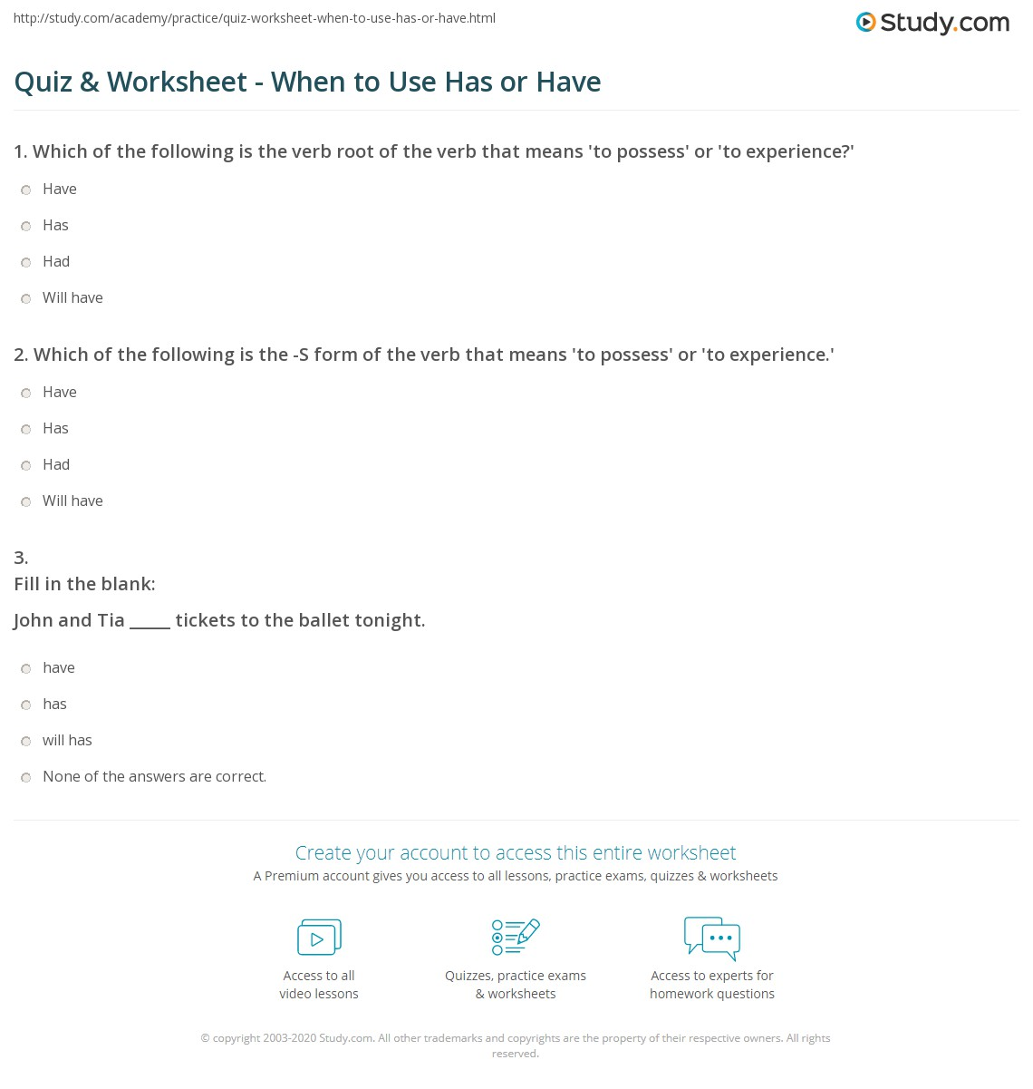 Worksheet For Has Have