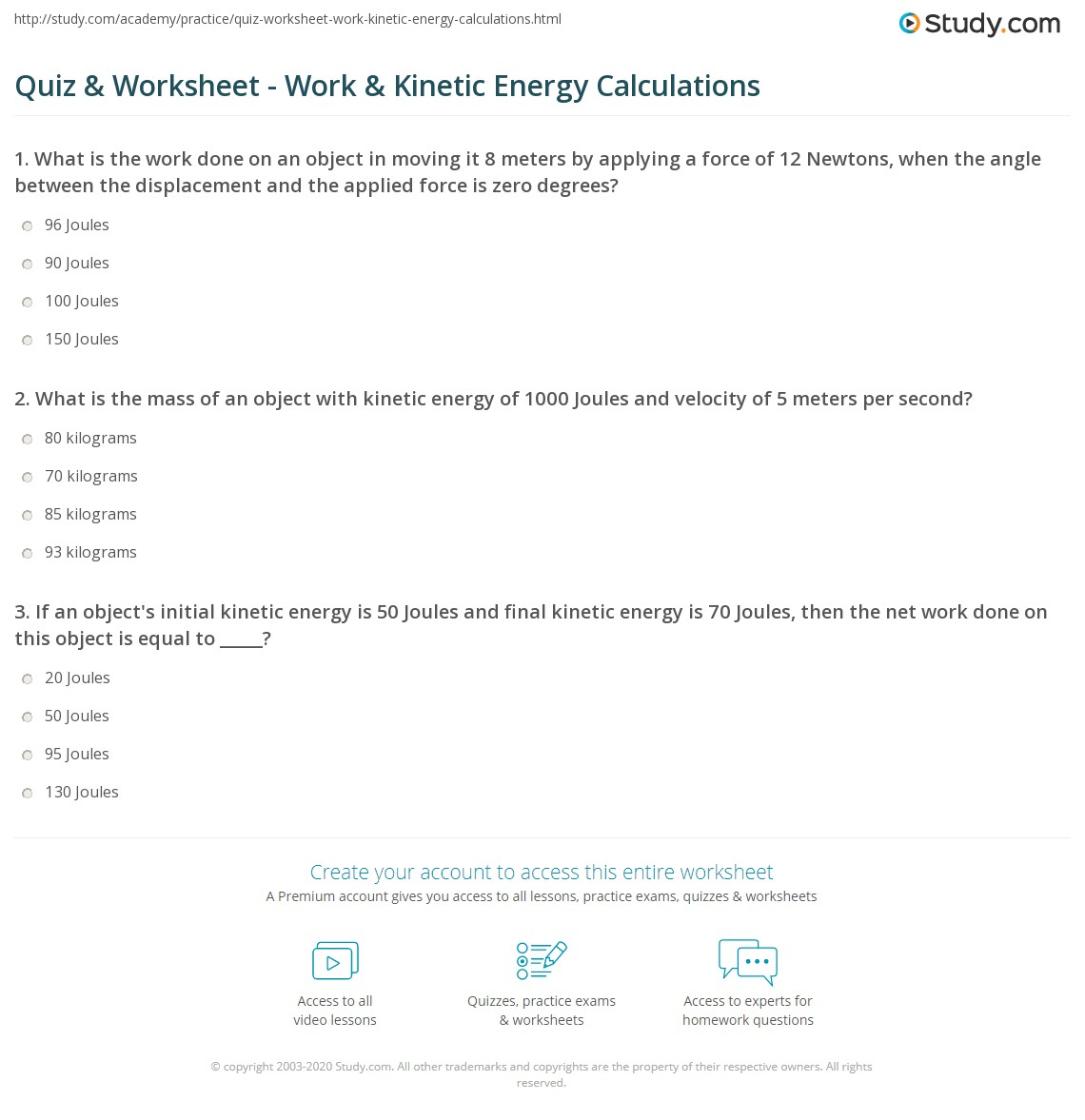 Work And Energy Worksheet