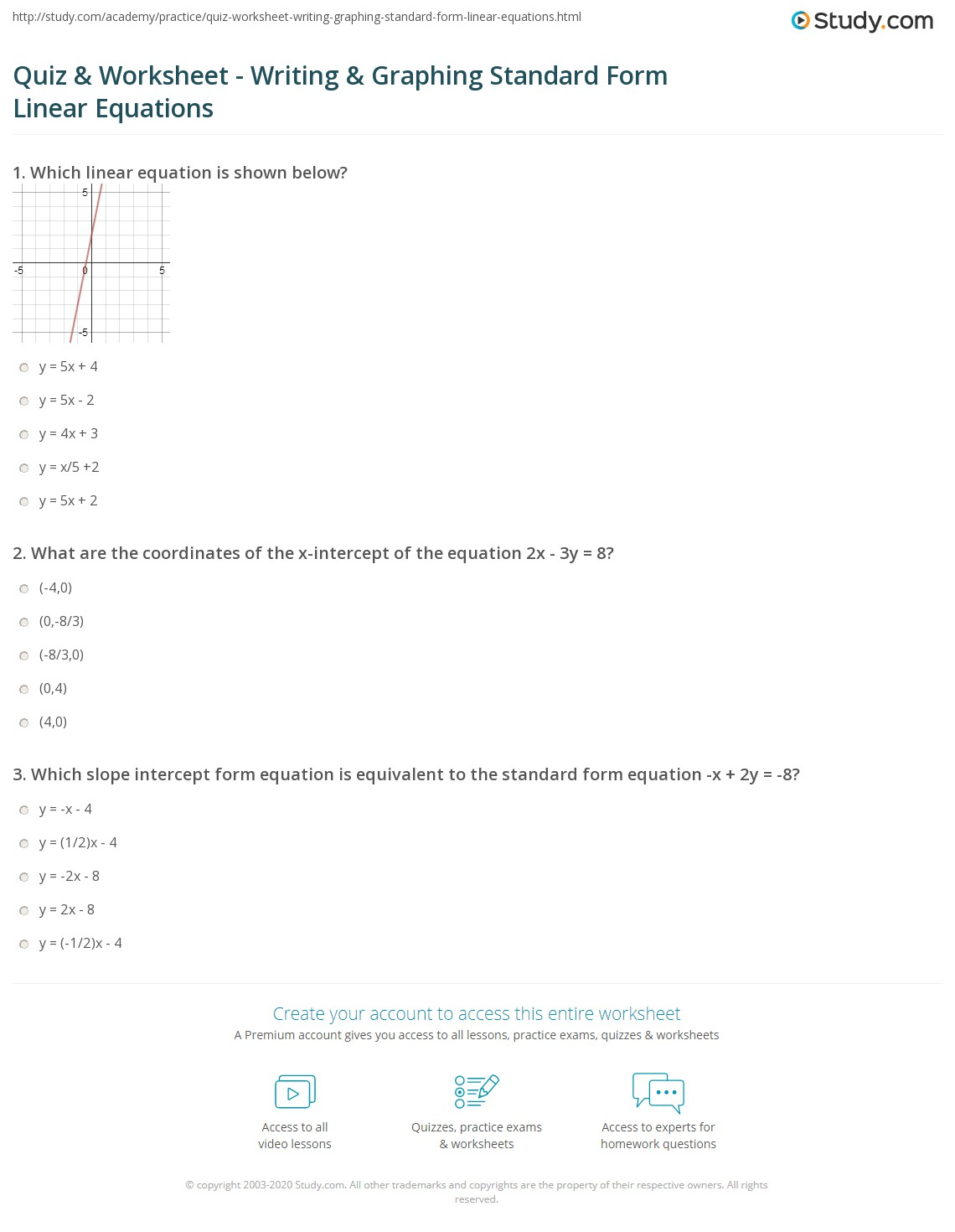 Linear Equations Slope Intercept Form Worksheet