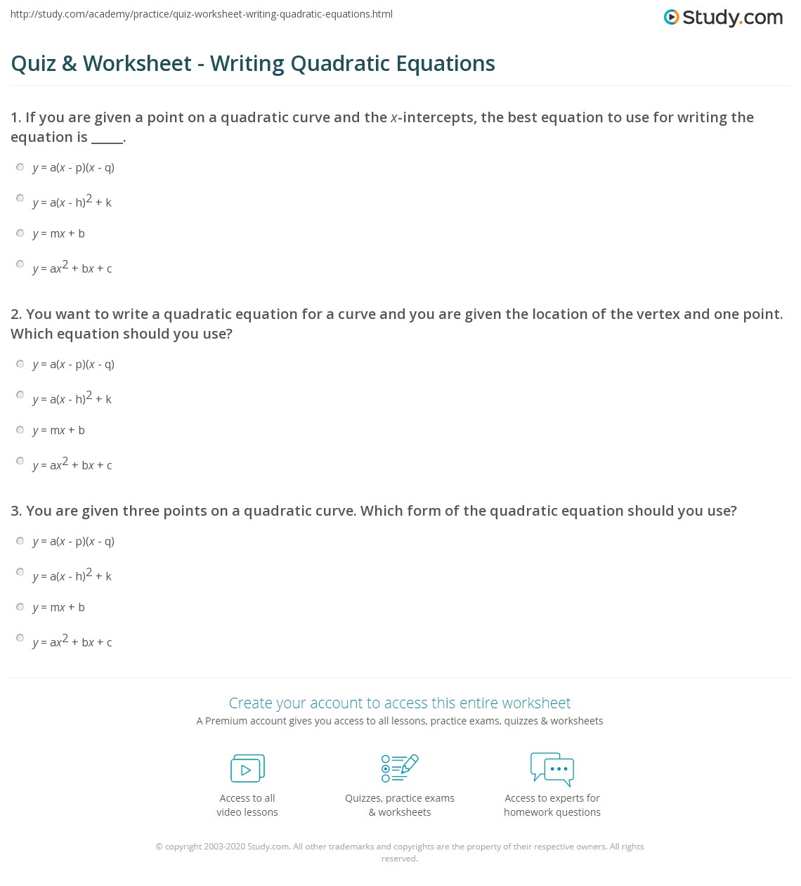 Writing Quadratic Equations Given 3 Points Worksheet