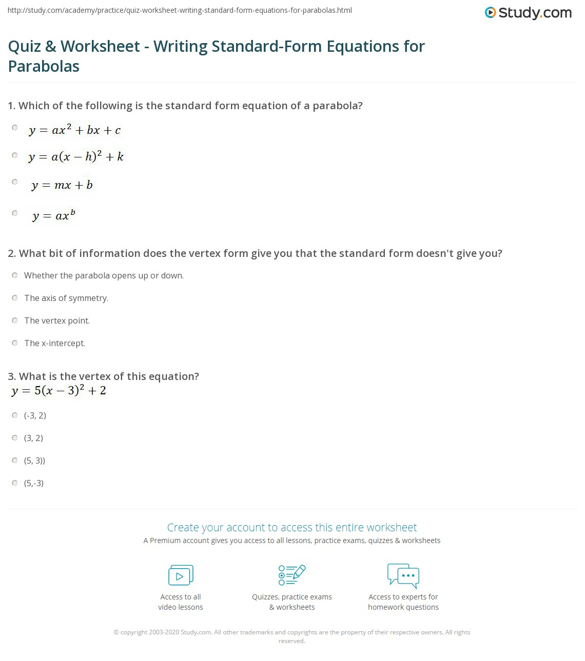 From Vertex Form To Standard Form Worksheet