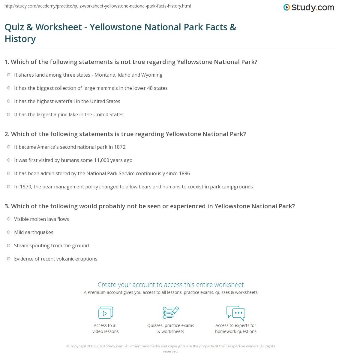 Park Test Worksheet