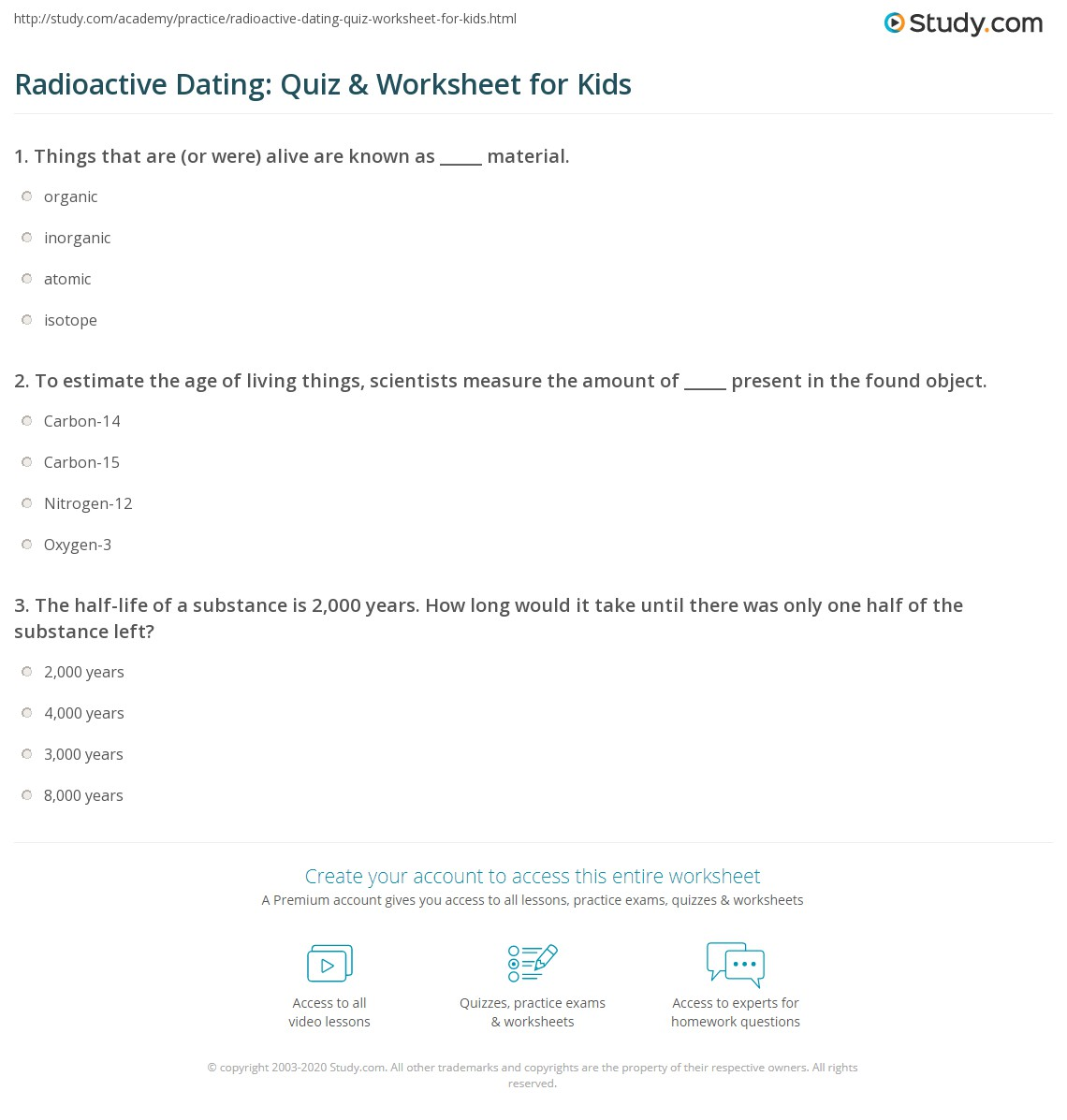 Radioactive Dating Quiz Amp Worksheet For Kids