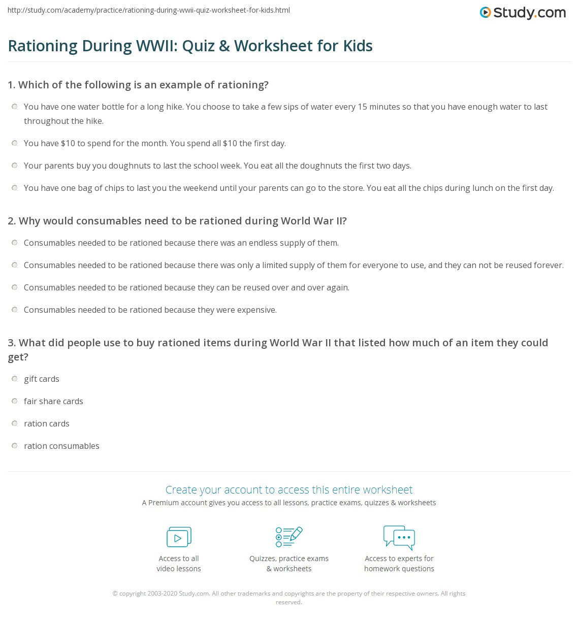 Rationing During Wwii Quiz Amp Worksheet For Kids