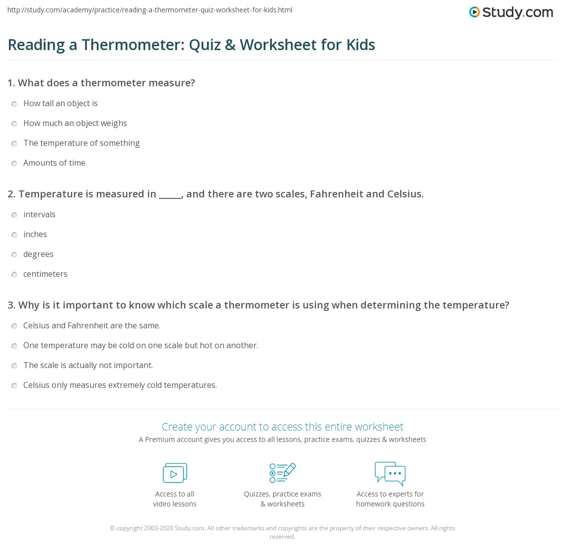 Reading A Thermometer Quiz Amp Worksheet For Kids