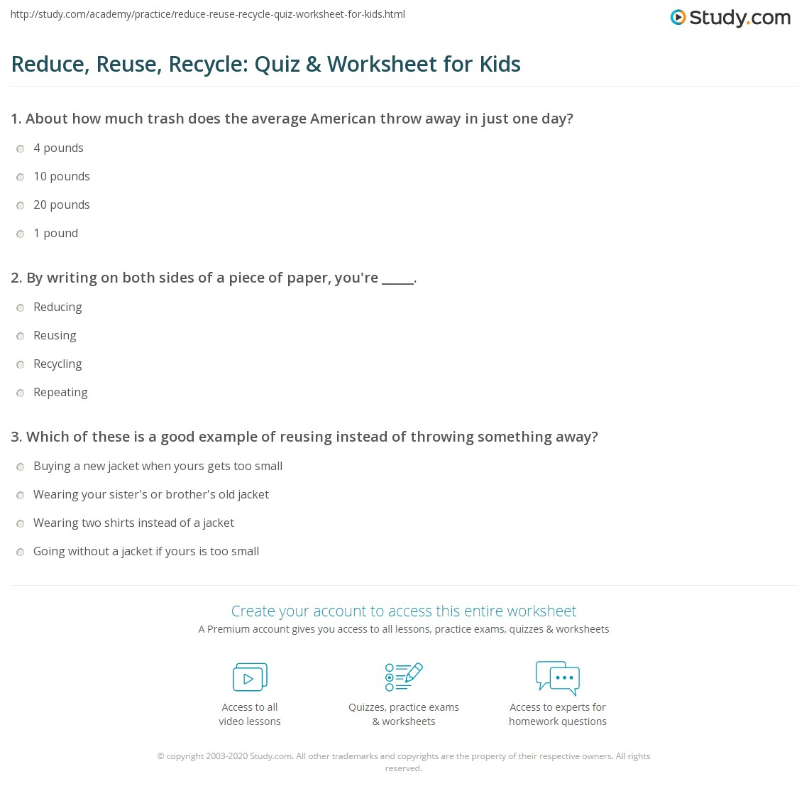 Reduce Reuse Recycle Quiz Amp Worksheet For Kids