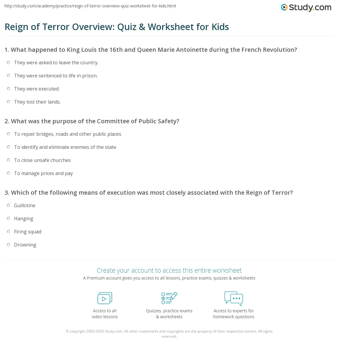 Reign Of Terror Overview Quiz Amp Worksheet For Kids