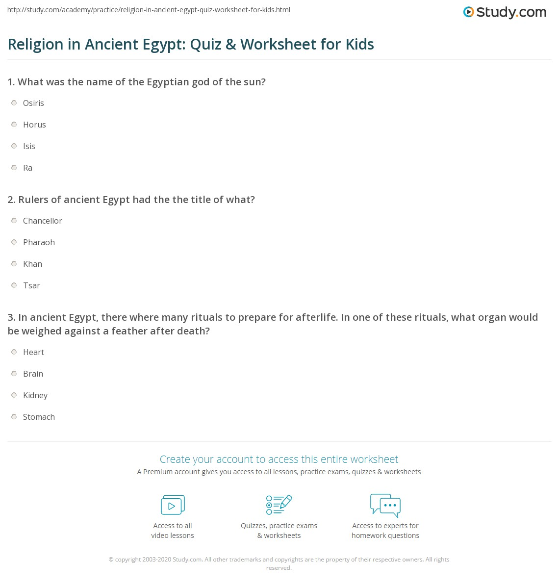 Religion In Ancient Egypt Quiz Amp Worksheet For Kids