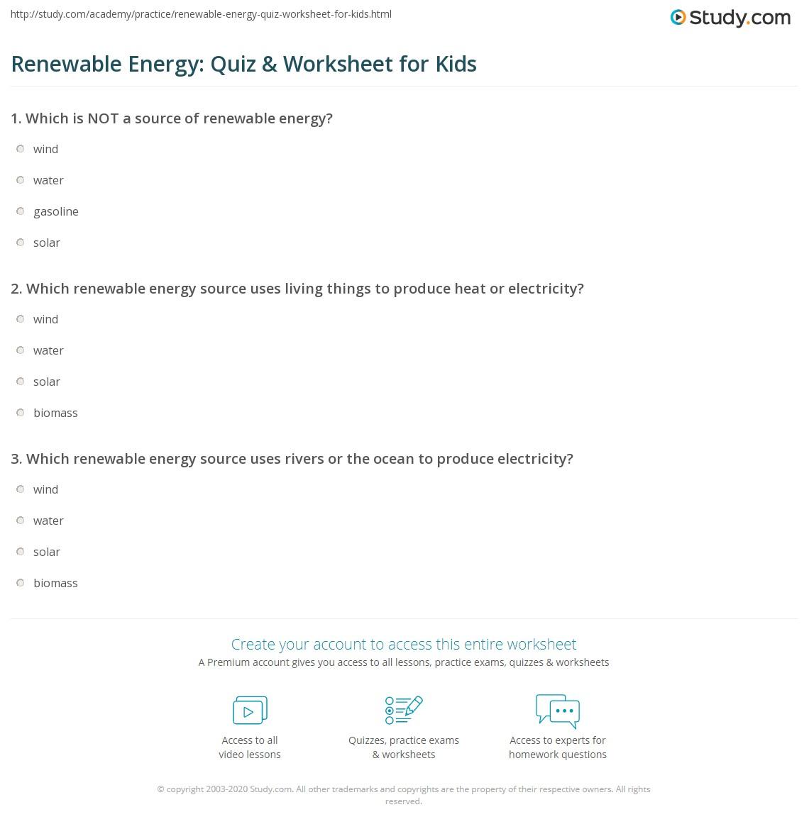 Renewable Energy Quiz Amp Worksheet For Kids