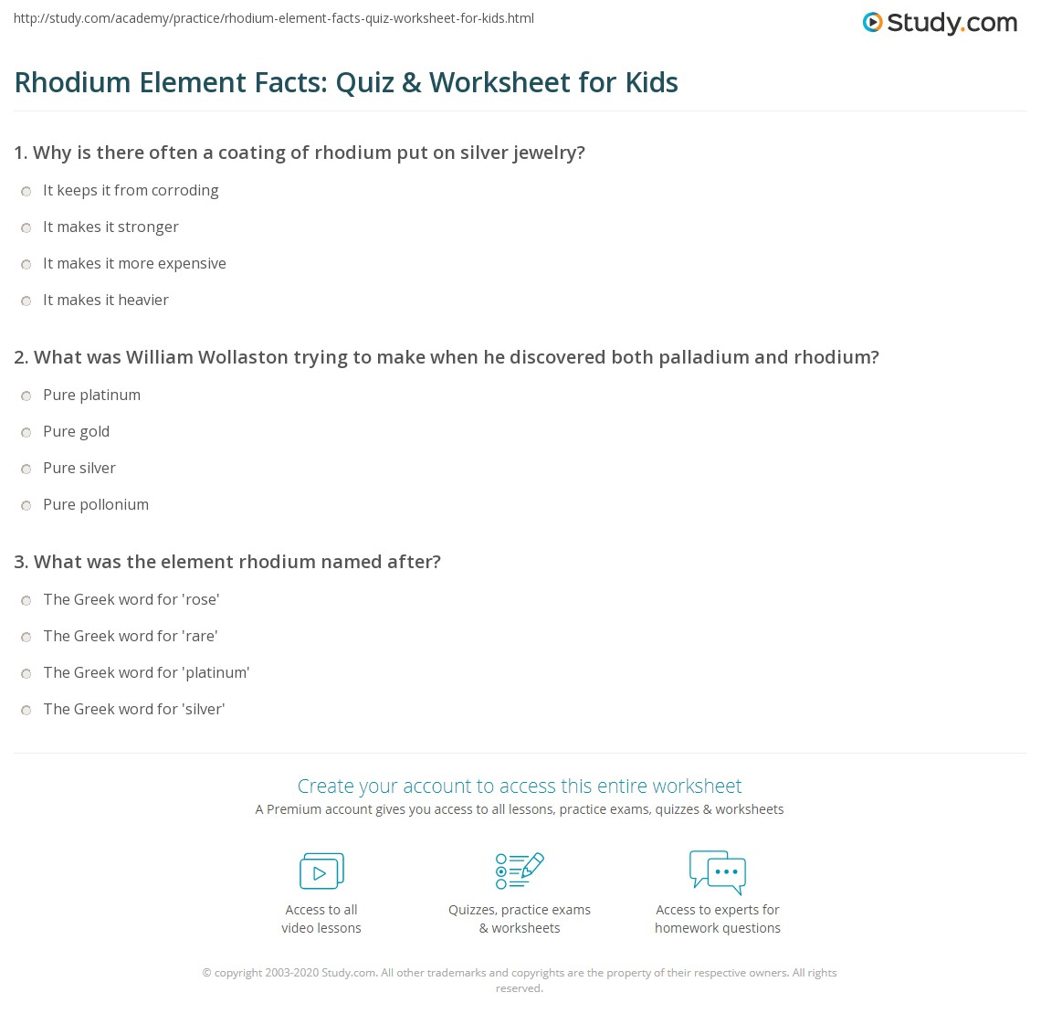 Rhodium Element Facts Quiz Amp Worksheet For Kids