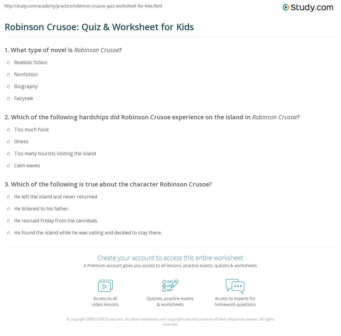 Robinson Crusoe Quiz Amp Worksheet For Kids