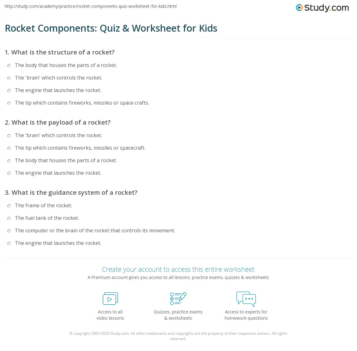 Rocket Components Quiz Amp Worksheet For Kids