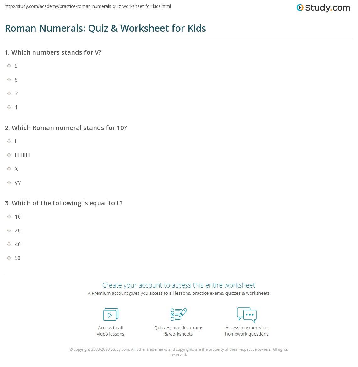 Roman Numerals Quiz Amp Worksheet For Kids