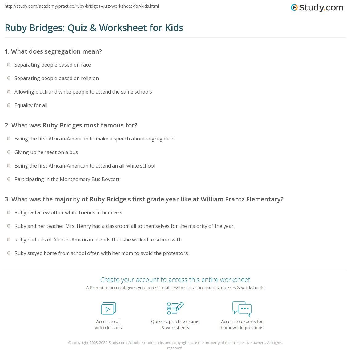 Ruby Bridges Quiz Amp Worksheet For Kids