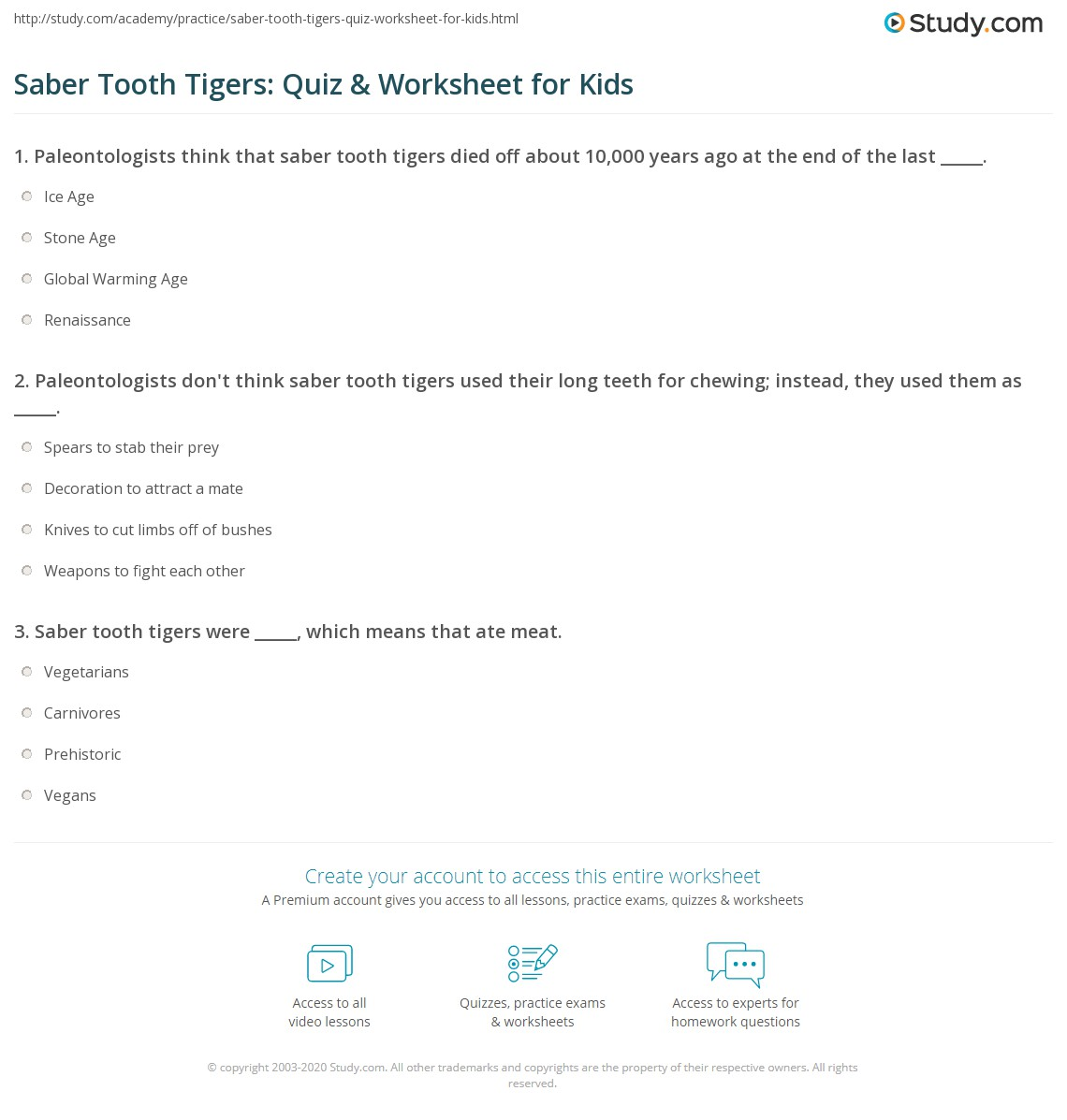 Saber Tooth Tigers Quiz Amp Worksheet For Kids