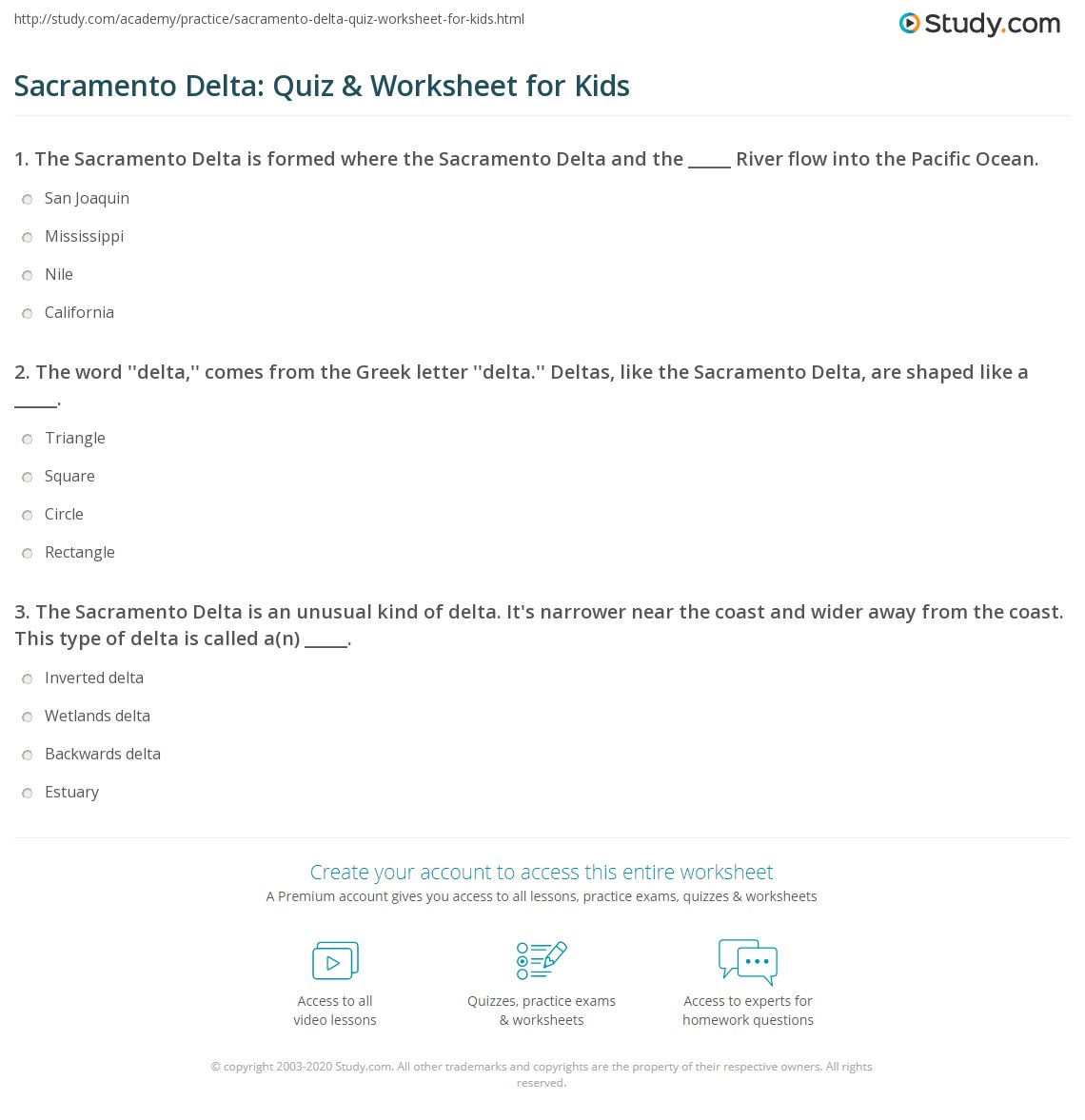 Sacramento Delta Quiz Amp Worksheet For Kids
