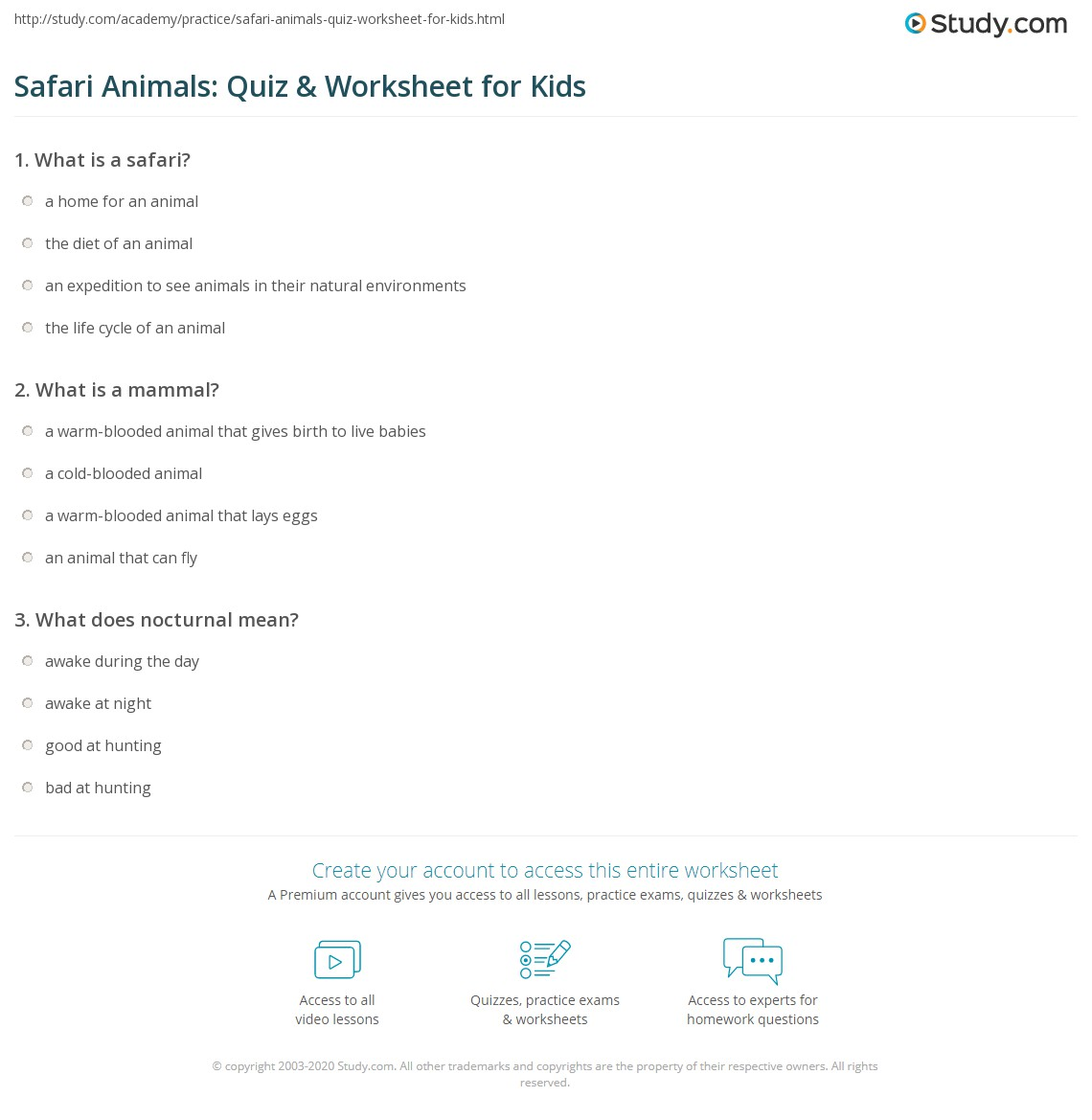 Safari Animals Quiz Amp Worksheet For Kids
