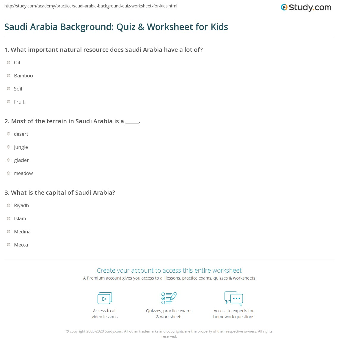 Saudi Arabia Background Quiz Amp Worksheet For Kids