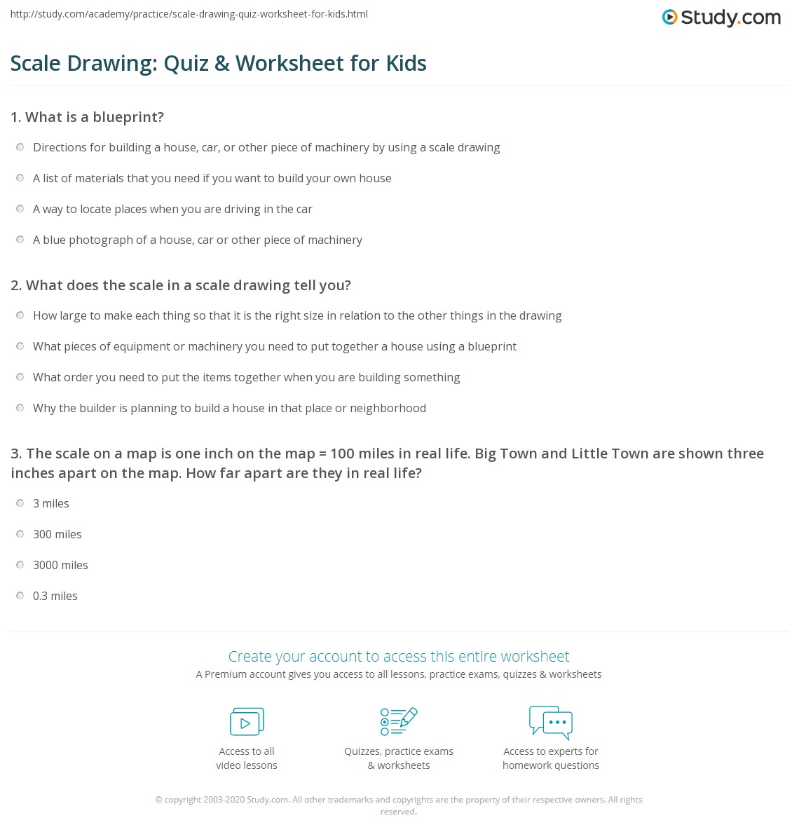 Scale Drawing Quiz Amp Worksheet For Kids