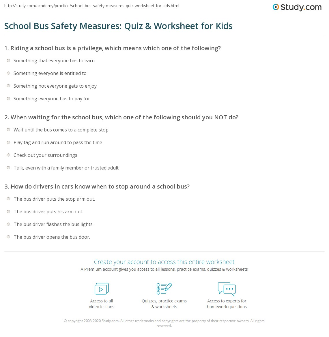 School Bus Safety Measures Quiz Amp Worksheet For Kids