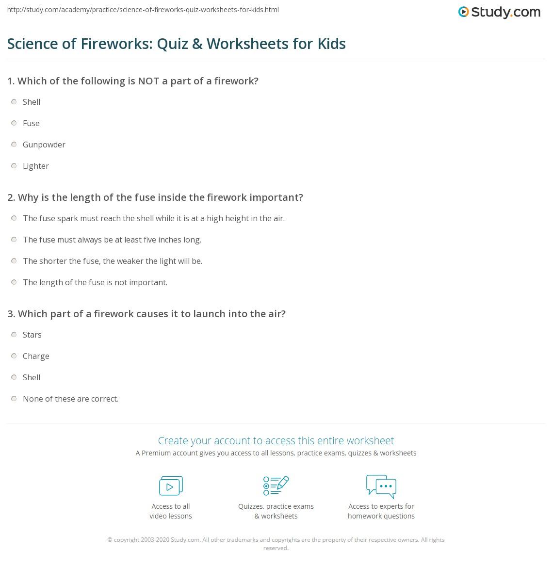 Science Of Fireworks Quiz Amp Worksheets For Kids