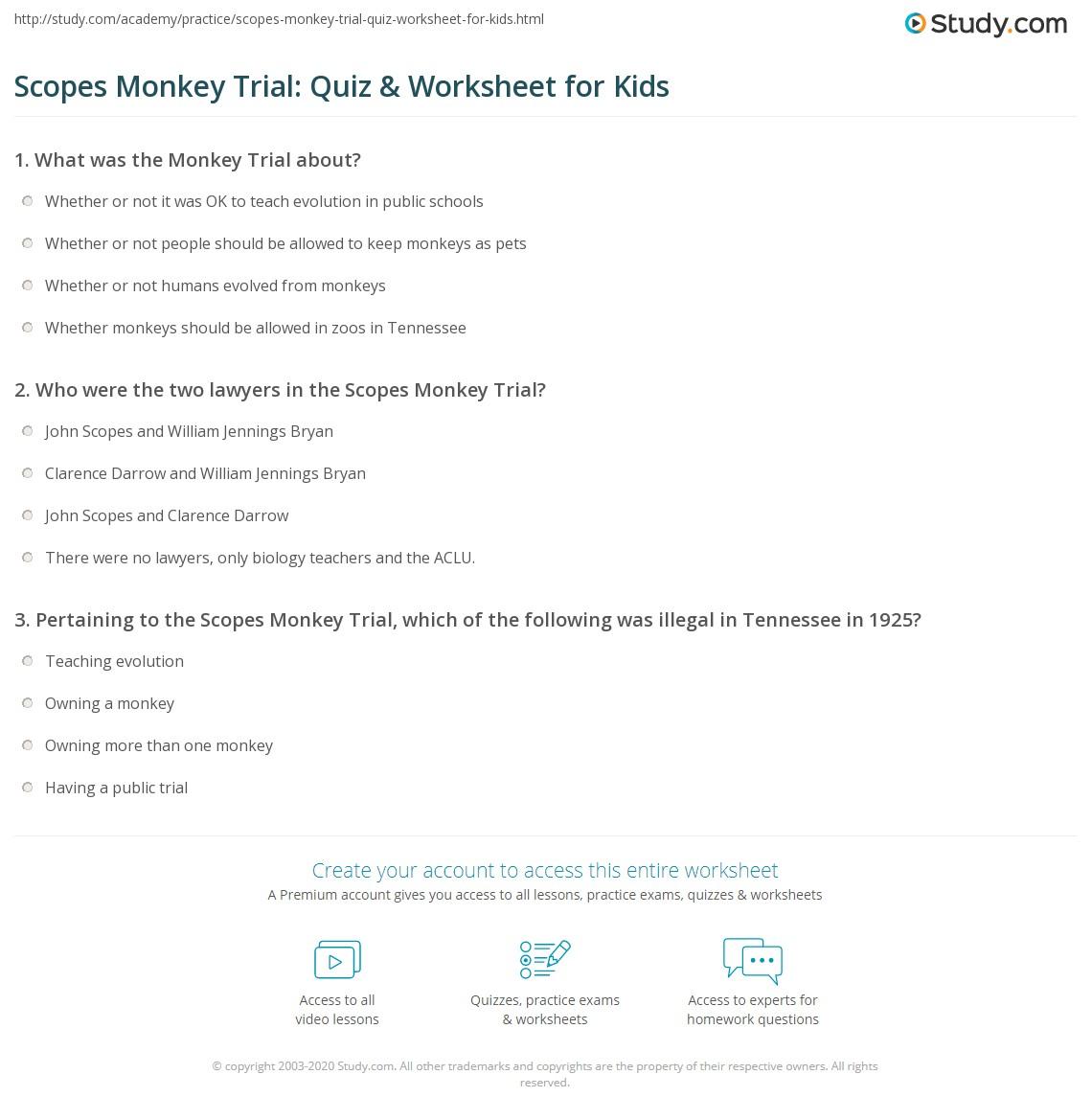 Scopes Monkey Trial Quiz Amp Worksheet For Kids
