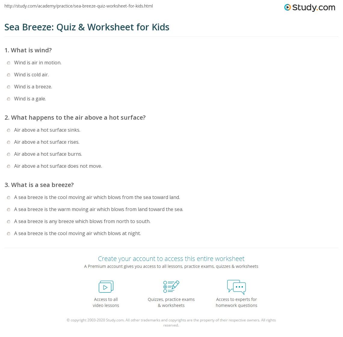 Sea Breeze Quiz Amp Worksheet For Kids