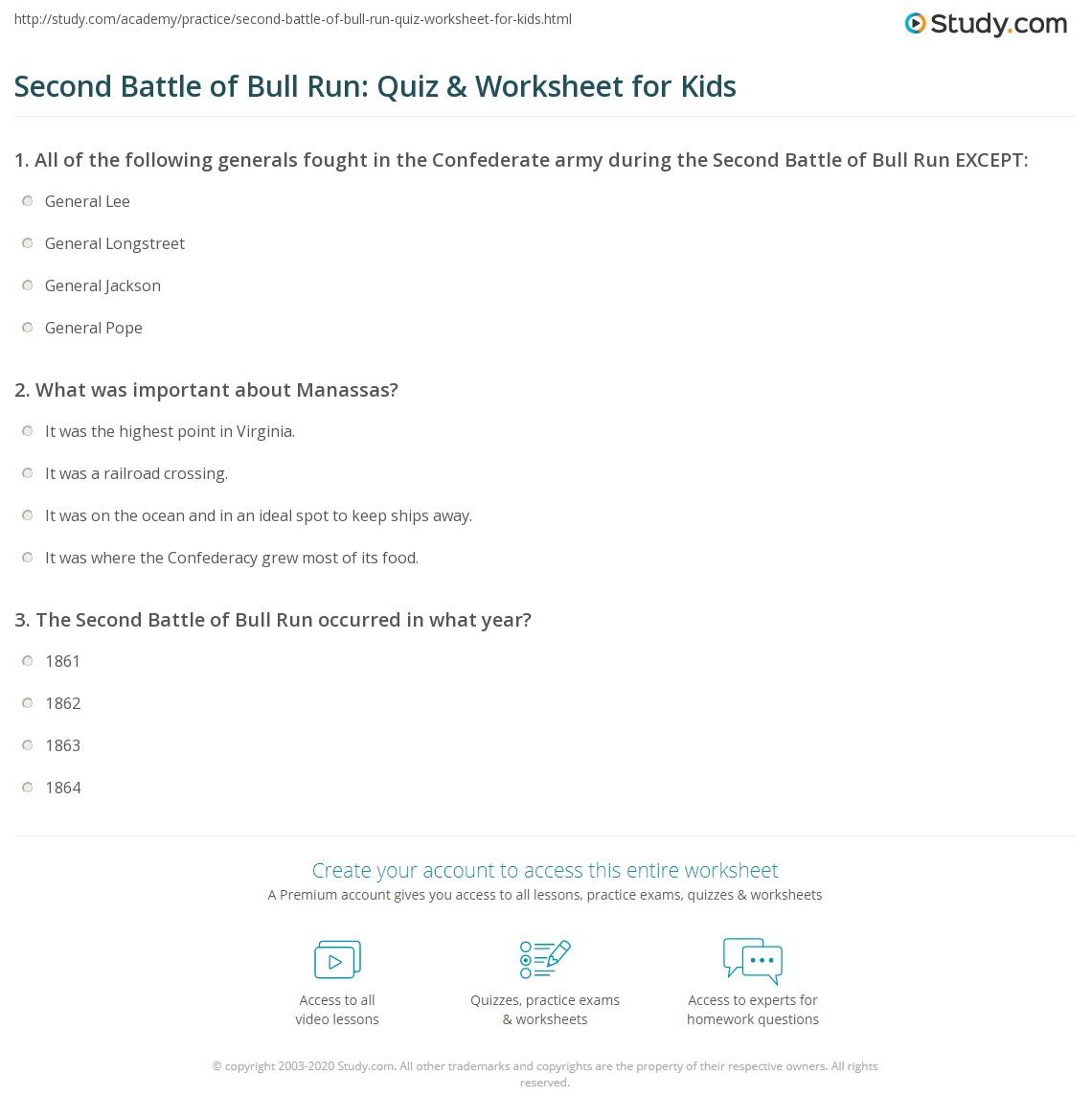 Second Battle Of Bull Run Quiz Amp Worksheet For Kids