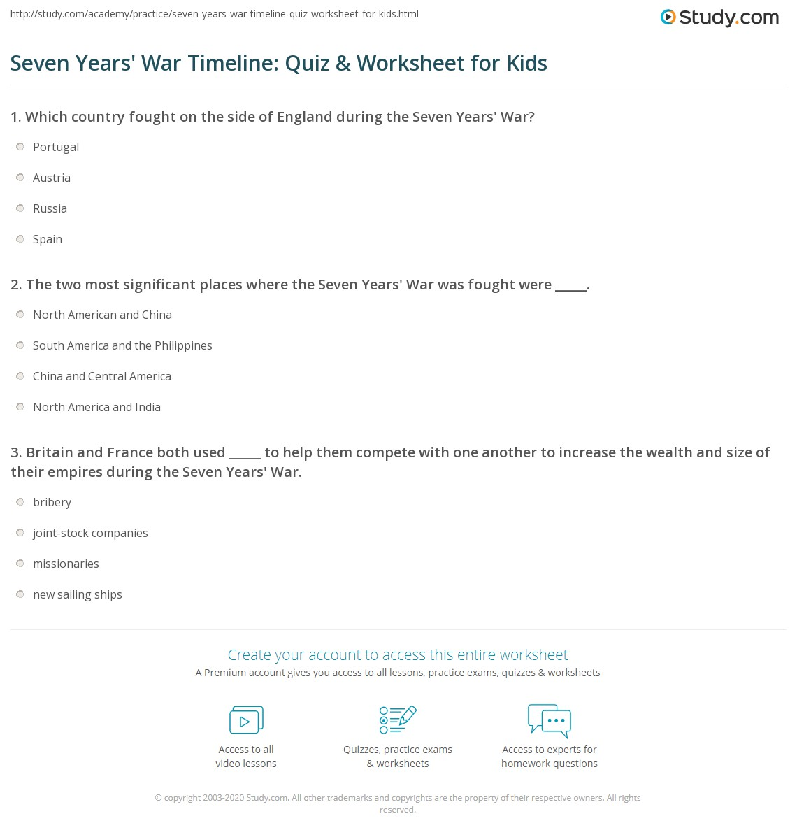 Seven Years War Timeline Quiz Amp Worksheet For Kids