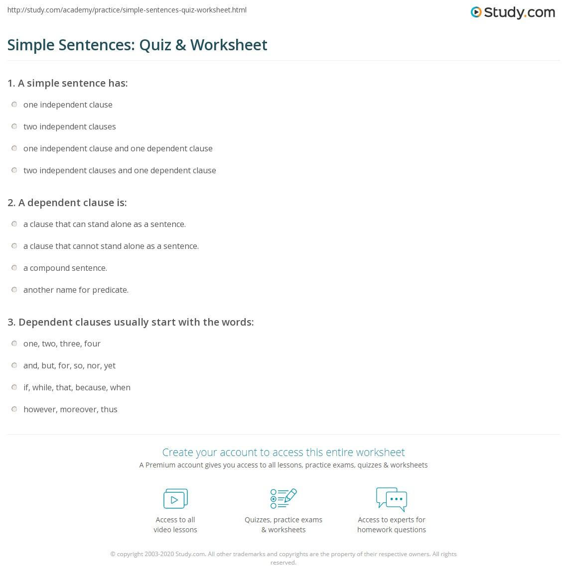 Simple Sentences Quiz Amp Worksheet