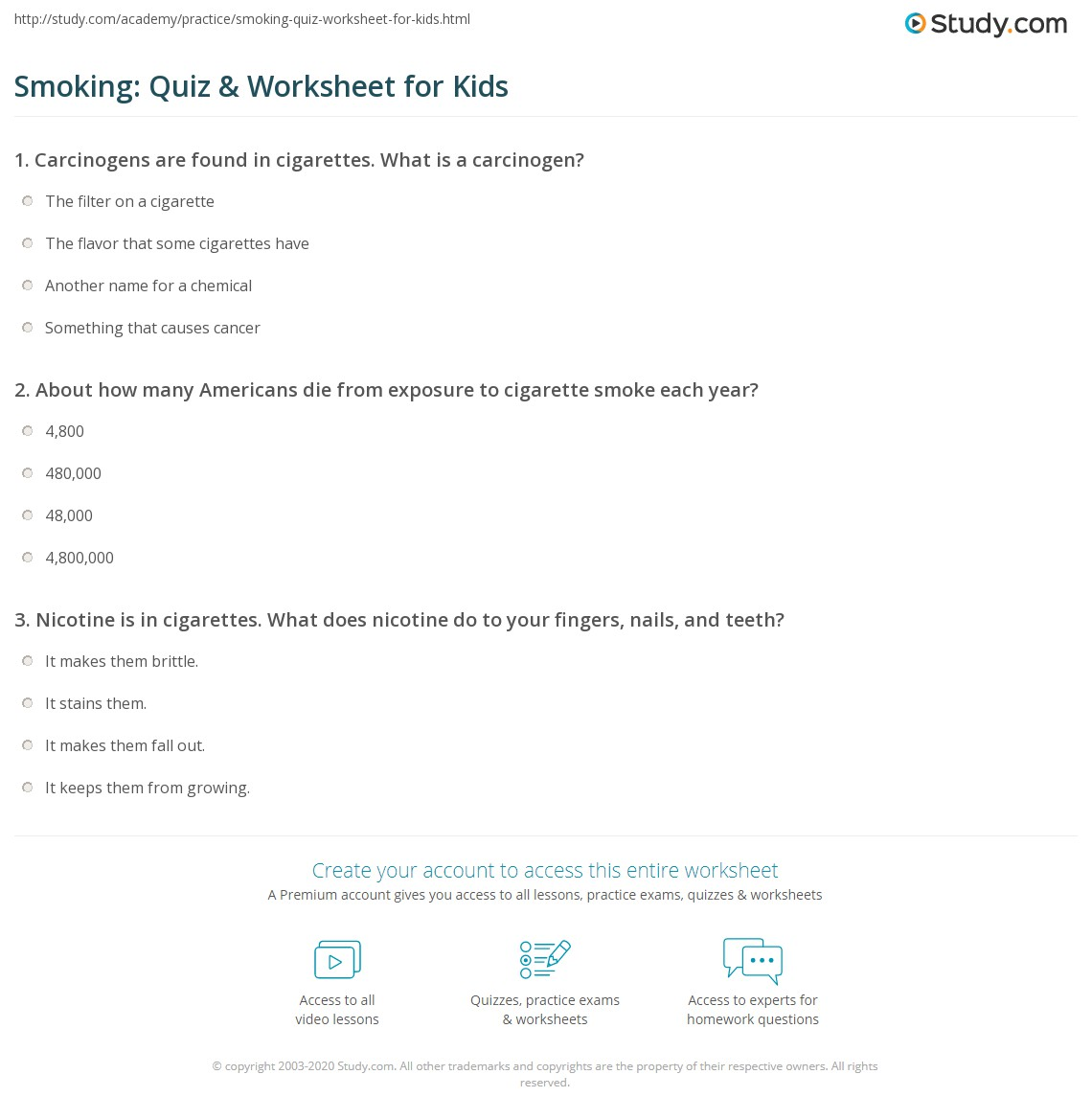Smoking Quiz Amp Worksheet For Kids